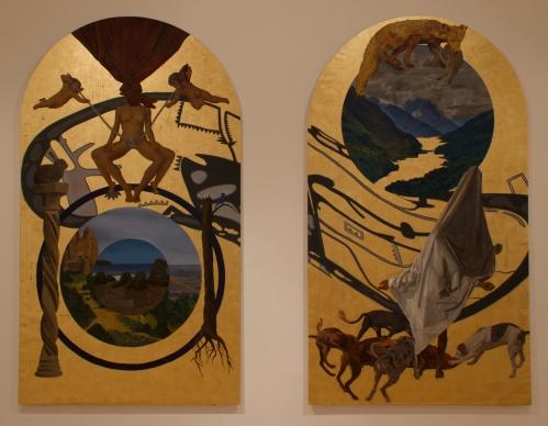Holocausto, técnica mixta sobre tela pegada a tabla, 230 x 130 cm (cada panel)
